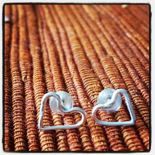 Silver heart örhängen - Fijn