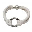 Jane läderarmband vit/silver - Tokyo Jane